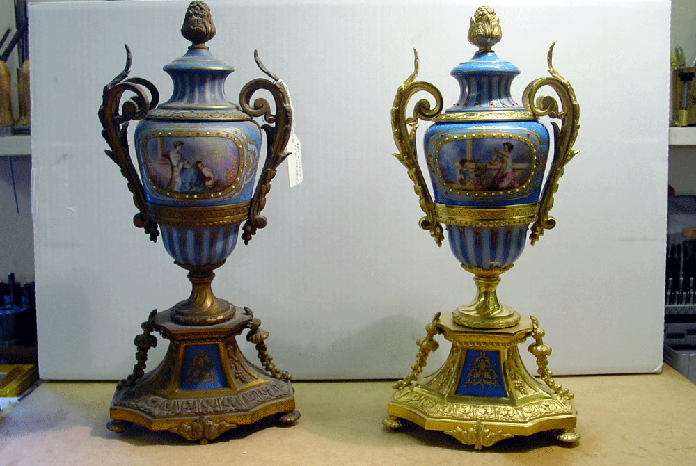 French clock garnitures left garniture unrestored