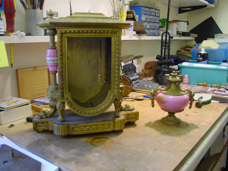 French mantle clock before restoration