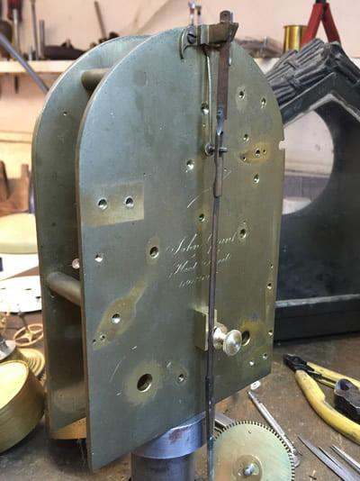 Grant bracket clock being restored