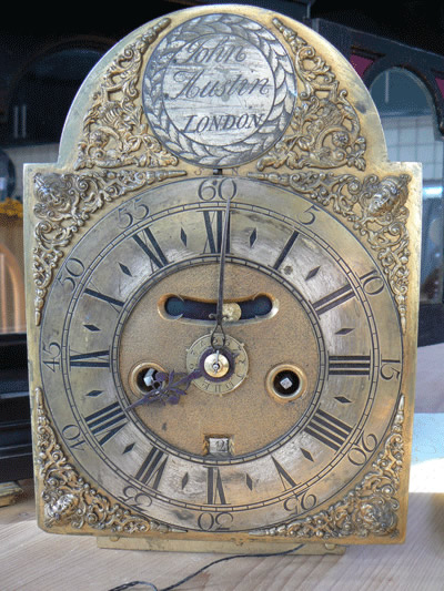 John Austin Bracket clock dial and hands before restoration