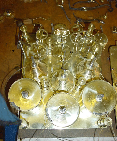John Austin bracket clock restored parts in place