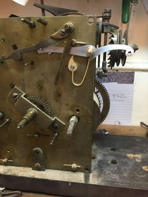 Longcase clock by John Hovil Rotherhithe parts being replaced