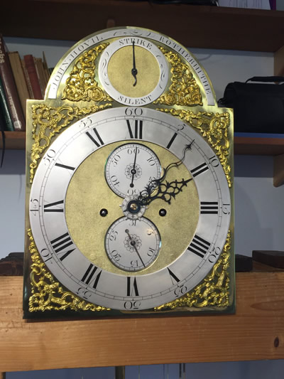 Longcase clock by John Hovil Rotherhithe hand and dial restored