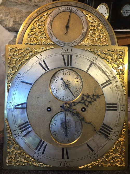 Longcase clock by John Hovil Rotherhithe hand and dial before restoration