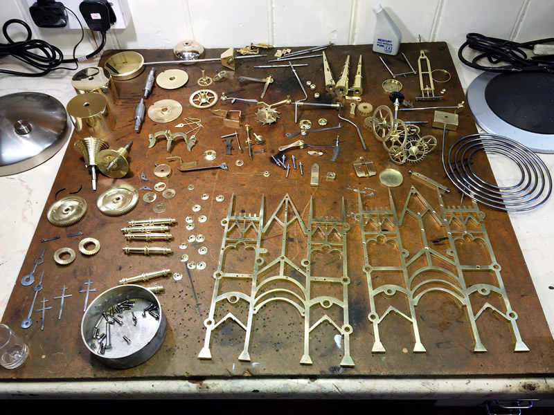 Skeleton Clock parts after cleaning