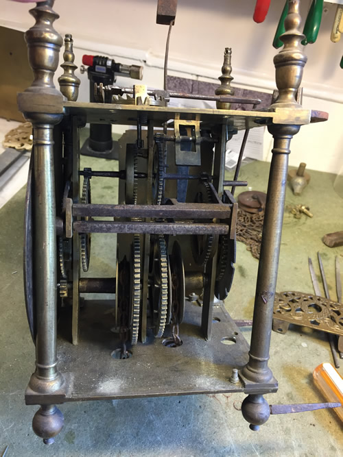 John Knibb Lantern clock before restoration