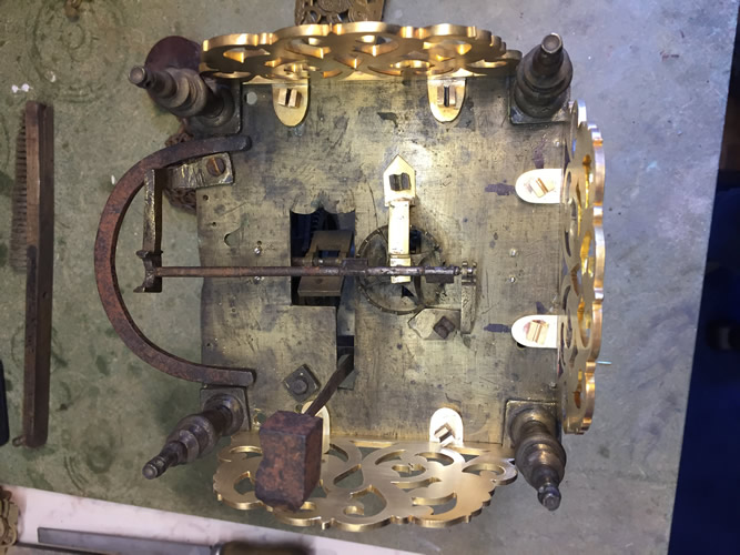 John Knibb Lantern clock during restoration