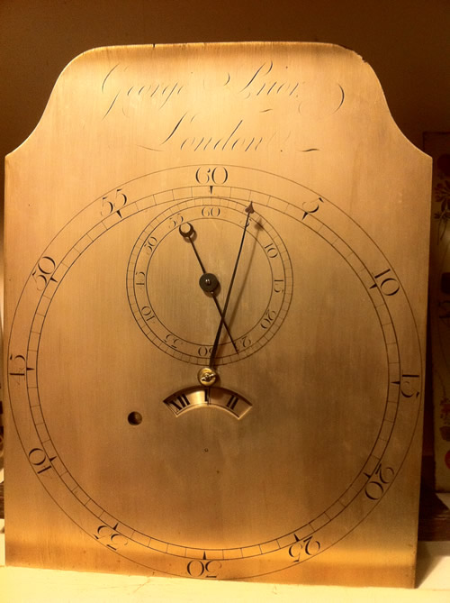 John Knibb Lantern clock before restoration showing dial and hand