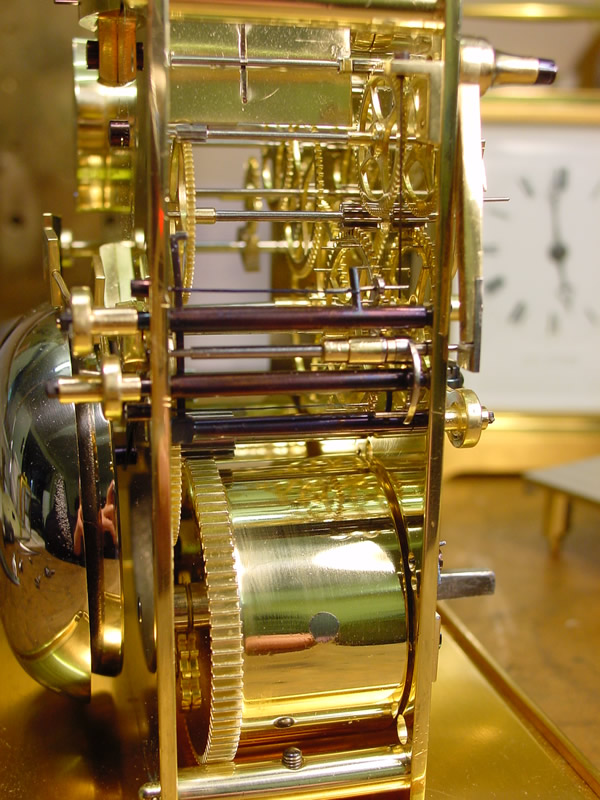 Side view of Paul Garnier carriage clock showing unique striking mechanism